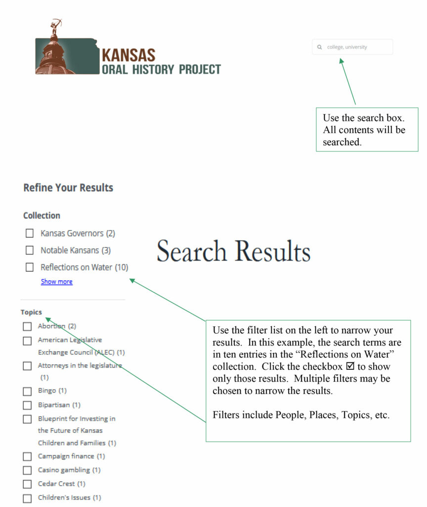 search kansas oral history project